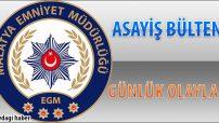Malatya Asayiş Bülteni Günlük Olaylar 03 – 09 Ekim 2018