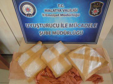 Malatya'da  3 kilo 10 gram uyuşturucu Metamfetamin maddesi ele geçirildi