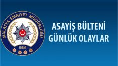 Malatya Asayiş Bülteni Günlük Olaylar 24 – 30 Aralık 2018
