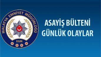 Malatya Asayiş Bülteni Günlük Olaylar 04 – 10 Şubat 2019