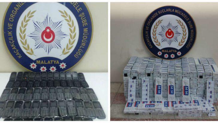Malatya'da  Kaçak Sigara ve Cep Telefonları Ele Geçirildi