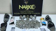 Malatya'da 198 paket halinde toplam 2.480 gr Reçine Esrar maddesi ele geçirildi