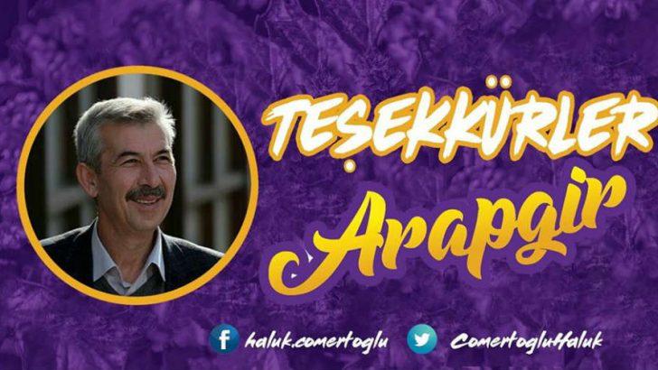 Arapgir Belediye Başkanı Cömertoğlu'nun Teşekkür Mesajı