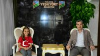 Yeşilyurt Belediye Başkanı Mehmet Çınar, Milli Takım sporcusu Elif Naz Aktaş'ı Misafir Etti