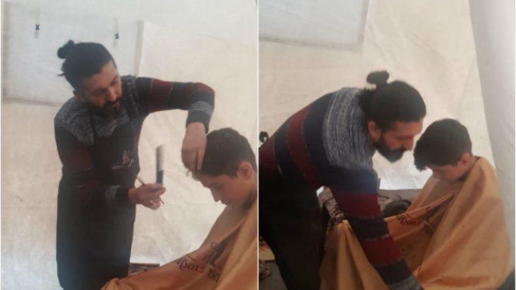 Çadırları Gezerek, Depremden zarar gören çocukları traş ediyor