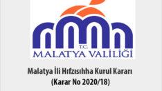 Malatya İli Hıfzısıhha Kurul Kararı (Karar No 2020/18) 28 Mart 2020