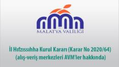 İl Hıfzıssıhha Kurul Kararı (Karar No 2020/64) (alış-veriş merkezleri AVM'ler hakkında)