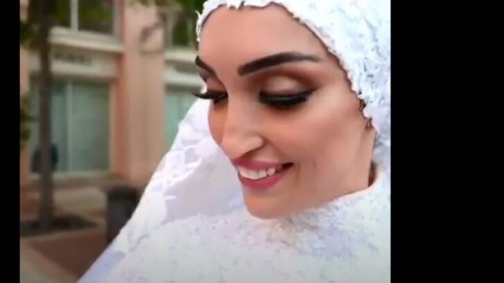 Beyrut'taki patlamadan bir video… Düğün öncesi gelin için çekim yapıldığı sırada şok dalgası geliyor