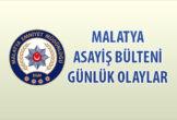 Malatya Asayiş Bülteni Günlük Olaylar  12-18 Ekim 2020