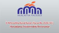İl Hıfzıssıhha Kurul Kararı (Karar No 2020/145) (Konaklama Tesislerindeki Restoranlar)