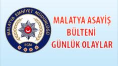 Malatya Asayiş Bülteni Günlük Olaylar 16 – 22 Kasım 2020