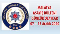 Malatya Asayiş Bülteni Günlük Olaylar 07 – 13 Aralık 2020