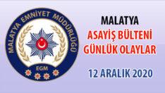 Malatya Asayiş Bülteni Günlük Olaylar 12 Aralık 2020