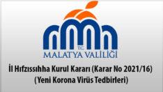 İl Hıfzıssıhha Kurul Kararı (Karar No 2021/16) (Yeni Korona Virüs Tedbirleri)