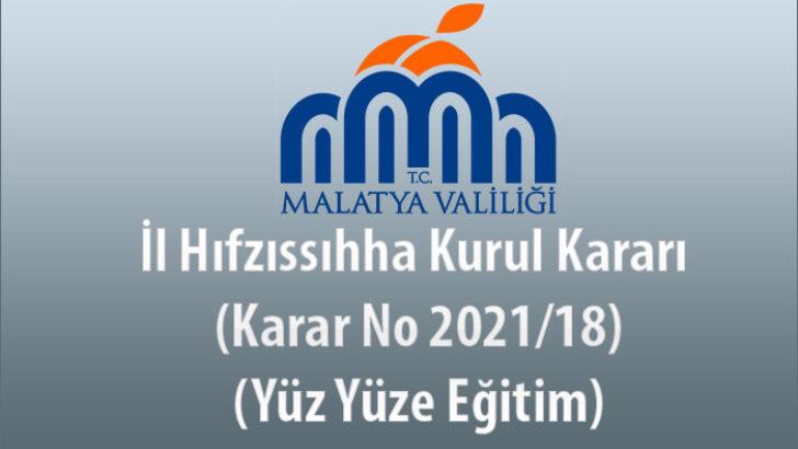 İl Hıfzıssıhha Kurul Kararı (Karar No 2021/18) (Yüz Yüze Eğitim)