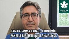 Gelecek Partisi Malatya İl Başkanı Av. Raşit Alaca : Tam Kapanma, Ekonomik Paketle Birlikte Açıklanmaydı