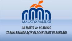 8 ve 15 Mayıs Tarihlerinde Açık Olacak Semt Pazarları