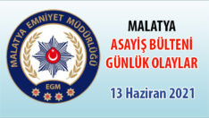 Malatya Asayiş Bülteni Günlük Olaylar 13 Haziran 2021
