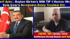 MATEK – DER Başkanı Şerif Aykız'dan, Başkan  Selahattin Gürkan'a Teşekkür
