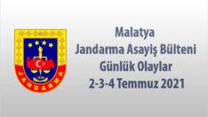 Malatya Jandarma Asayiş Bülteni Günlük Olaylar  2-3-4 Temmuz 2021