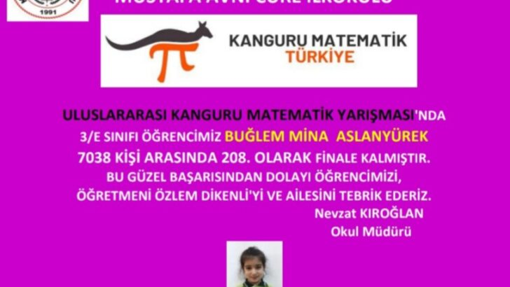 Mustafa Avni Cüre İlkokulu Öğrencisi Buğlem Mina Aslanyürek Uluslararası Matematik Yarışmasında Finale Kaldı