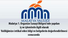 Malatya 1. Organize Sanayi Bölgesi'nde Neler Oluyor ?